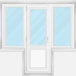 Балконный блок Пластиковый Трехстворчатый проф алюминий70мм стекло32мм, Барнаул
