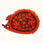Тарелка поднос деревянный с хохломской росписью ежик 280*190, Барнаул
