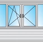 Балкон Пластиковые Двустворчатые профиль алюминиевый 58мм стекло 32мм, Барнаул
